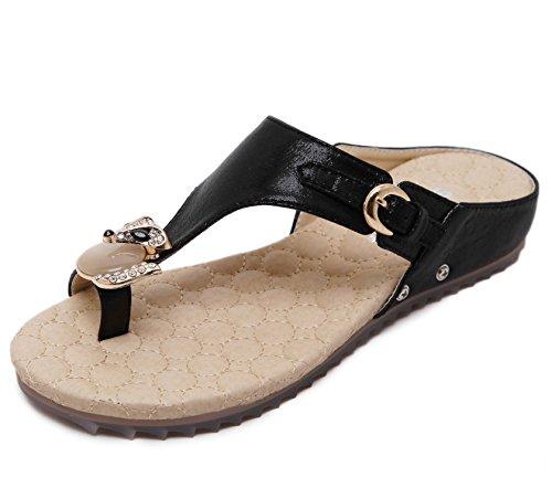 D2C Beauty Womens Rhinestone Slip On Summer Casual Flat Sandals Black