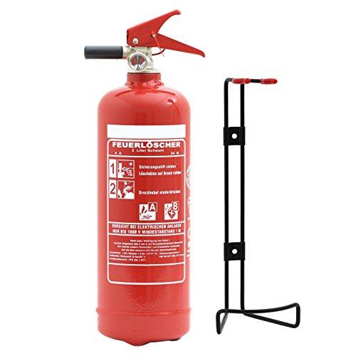 Feuerlöscher 2L Schaum EN 3 mit Drahthalter + ANDRIS® ISO-Symbolschild + Prüfnachweis mit Jahresmarke