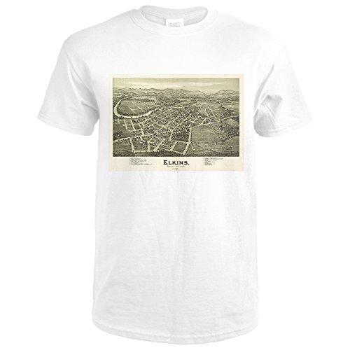 Elkins, West Virginia - (1897) - Panoramic Map (Premium White T-Shirt XX-Large) - 1897 Map