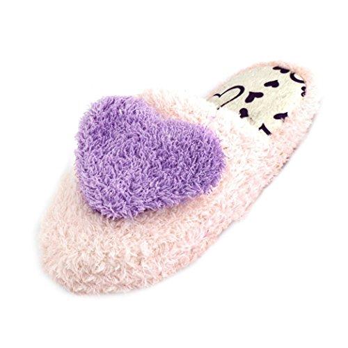 5 de corazon calentamiento 6 SODIAL calidas claro senoras de Zapatillas R decoracion purpura de felpa rosado ZxXXzqSt6w