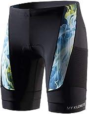 "MY KILOMETRE Triathlon Shorts Mens 9"" with Adjustable Drawstring | Easy Reach Leg Pockets | Chamois for Long-Distance Tri Race Cycling Shorts"
