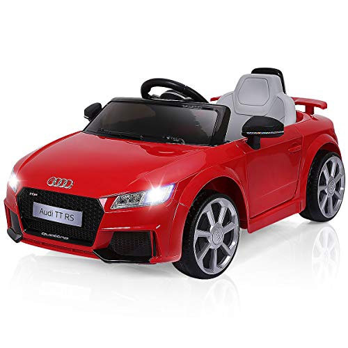 - Costzon Kids Ride On Car, 12V Licensed Audi TT RS, Battery Powered Electric Ride On Vehicle w/ 2.4G Parental Remote Control, MP3, Lights, Horn, Opened Doors, High/Low Speeds, Red