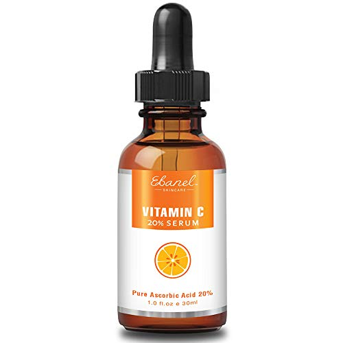 Ebanel 20% Vitamin C Face Serum with Hyaluronic Acid,1oz Max Strength Anti-Aging Anti-Wrinkle Ascorbic Acid Facial Serum Antioxidant with Collagen for Dark Spot,Fine Line,Skin Brightening and Firming