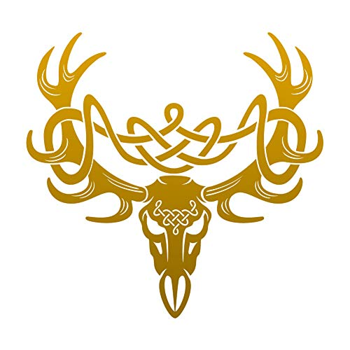 Dark Spark Decals Celtic Knot Deer Skull Buck - Gold 14 inch Vinyl Decal for Indoor or Outdoor use, Cars, Laptops, Décor, Windows, and More