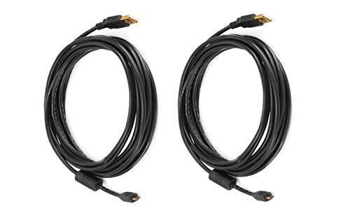 C&E 2 Pack USB 2.0 A Male to Micro 5pin Male 28/24AWG Cable