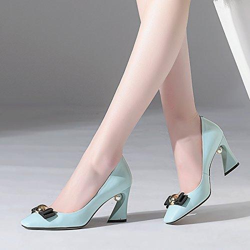 Blu Vera In Donne Pelle Quadrato Tacco Sexy Alti Tacchi Scarpe Signore Jieeme Perle YwS188q
