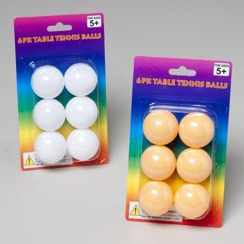 TABLE TENNIS BALLS 6PK 32PC WHITE/16PC ORANGE PER CASE, Case Pack of 48 by DDI