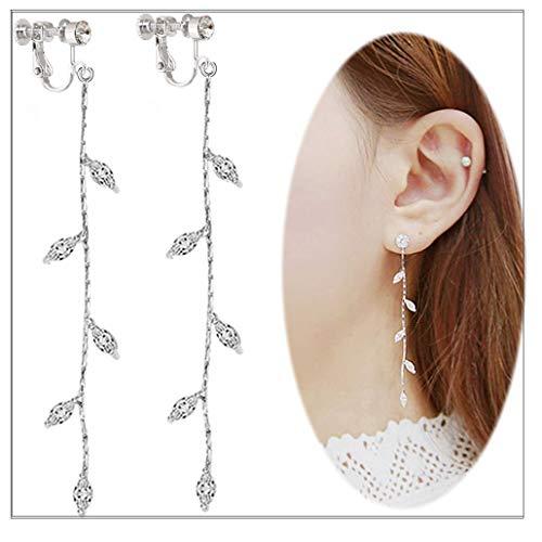 (Leaf Chandelier Dangle Clip on Earrings Tassel Crawler Earring Cuff Climber Rhinestone No Pierced Jewelry)