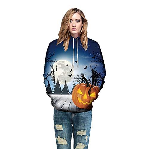 BYSTE stampato Coulisse Felpa per Unisex 3D Felpe Blu Sweatshirt adolescenti Ponticelli Uomo con Tasche Halloween cappuccio Felpe rTRr8qS