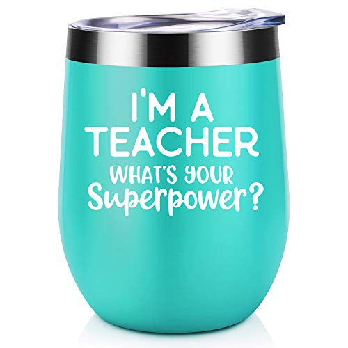 I'm A Teacher What's Your Super Power? | Coolife 12 oz Stainless Steel Novelty Wine Tumbler Insulated Stemless Funny Sippy Cup with Lid and Straw | Birthday Christmas Teacher's Day Gift for Teachers