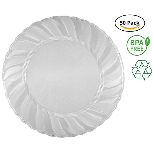 (Party Joy 'I Can't Believe It's Plastic' 50-Piece Plastic Salad Plate Set | Flairs Collection | Heavy Duty Premium Plastic Plates for Wedding, Parties, Camping & More (Clear Frosted))
