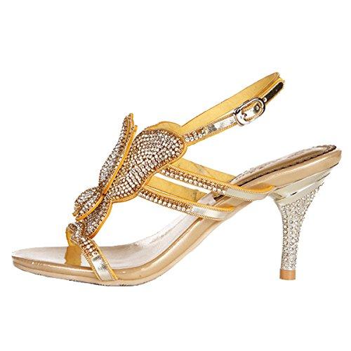 Win8Fong - Zapatos de tacón  mujer Golden # 2