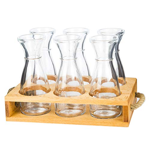 Beverage Serving Tray With 6 Glass Carafes | Vintage Wooden Serving Bottle Holder | Ideal for Dinner, Garden Parties, Wine Tastings | Last Minute Gift Idea