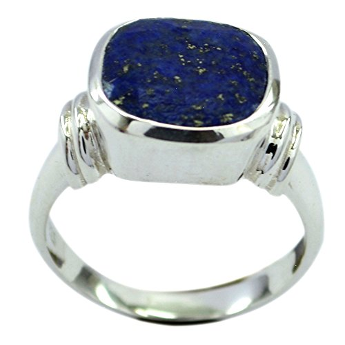 Genuine Lapis Lazuli Ring For Women Cushion Shape Bezel Setting Sterling Silver Size 5,6,7,8,9,10,11,12