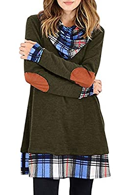Womens Long Sleeve Dress Plaid Elbow Patch Cowl Neck Casual Sweater Tunic Dresses Tops Shirts