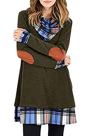 CNJFJ Womens Casual Tunic Dress Cowl Neck Plaid Elbow Patch Long Sleeve Fall Top Army Green