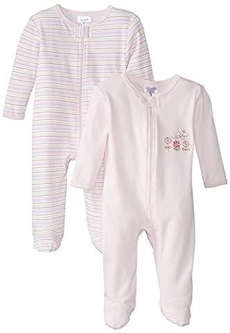 Spasilk Baby-Girls 100% Cotton Newborn 2 Pack Sleepwear Footie Set, Pink Flower, 9 Months - Girls Pink Sleeper