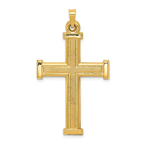 14k Yellow Gold Latin Cross Religious Pendant Charm Necklace Fine Jewelry Gifts For Women For Her