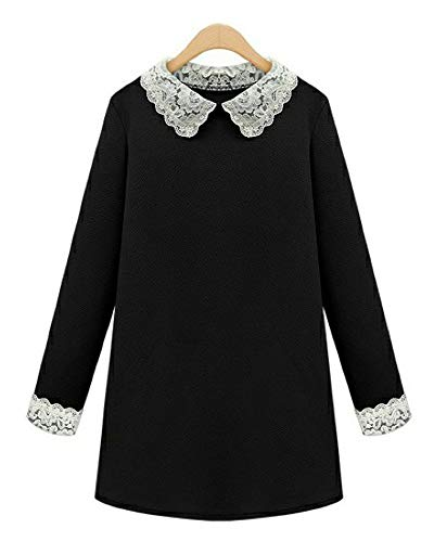 FOURSTEEDS Women's Contrast Collar Long Sleeve Casual Fit and Flare Dress for $<!--$19.99-->