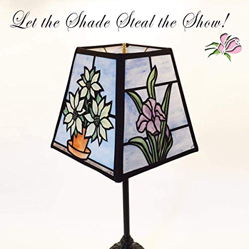 Four Seasons Hand Painted Fabric Lampshade that looks like stained glass