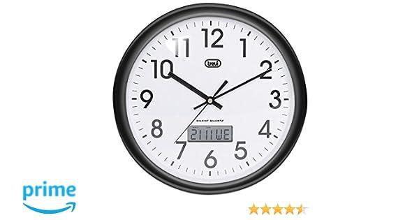 Trevi OM 3309 - Reloj de pared analógico con calendario digital y maquinaria de cuarzo de funcionamiento silencioso - Color negro: Amazon.es: Hogar