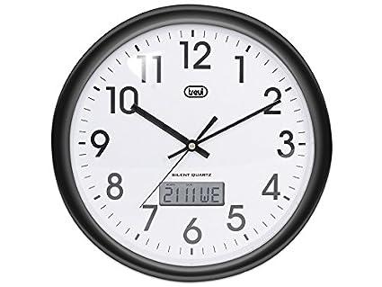 Trevi OM 3309 - Reloj de pared analógico con calendario digital y maquinaria de cuarzo de