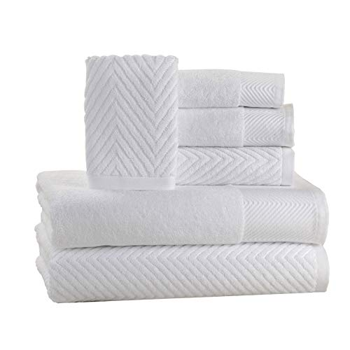 - ISABELLA CROMWELL 6 Piece Cotton Bath Towels Set - 2 Bath Towels, 2 Hand Towels, 2 Washcloths Machine Washable Super Absorbent Hotel Spa Quality Luxury Towel Gift Sets Chevron Towel Set - White