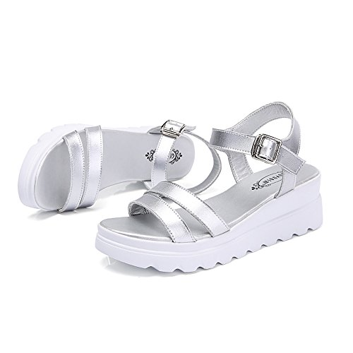 Sandals Amazing Thick-bottom Slope With Large Size Female Flat Summer (Color : Beige, Size : EU41/UK7.5-8/CN42) Silver