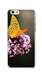 iPhone 6 Case Cover, Colorful Printed Butterfly On Lilac PC Hard Cover Case for iPhone 6 4.7inch Transparent