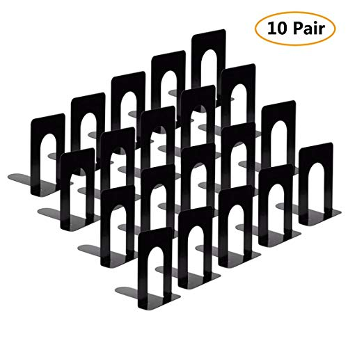 Bookends, Heavy Duty Metal Black Bookend Support, 6.5 x 5.7 x 4.9 Inch, Set of 10 Pairs