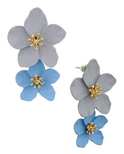 Womens Dual Metal Matte Flower Petal Pierced Dangle Earrings