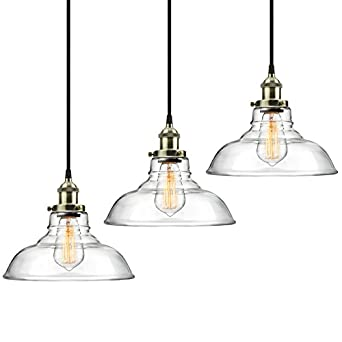 3 Pack Pendant Light Hanging Glass Ceiling Mounted Chandelier Fixture,  SHINE HAI Modern Industrial Edison Vintage Style
