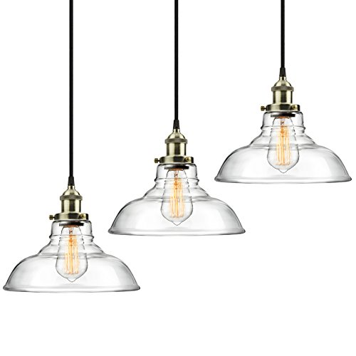 Hanging light pendants kitchen amazon 3 pack pendant light hanging glass ceiling mounted chandelier fixture shine hai modern industrial edison vintage style aloadofball Image collections