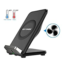 Fast Wireless Charging Station & Cooling Fan, QI Wireless Charging Dock Stand Quick Charge Pad Rapid Charger Samsung Galaxy S 8/ 8+ S7 / S7 Edge / S6 /S6 Edge / Note 5 & All Qi-Enabled (Bulit in Fan)