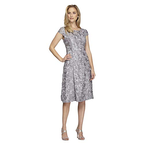 Alex Evenings Women's Tea Length A-Line Rosette Dress with Cap Sleeves, Dove, 10