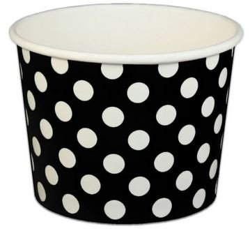 Black Polka Dot Ice Cream Cups 12 oz - 50 count by Beach Party