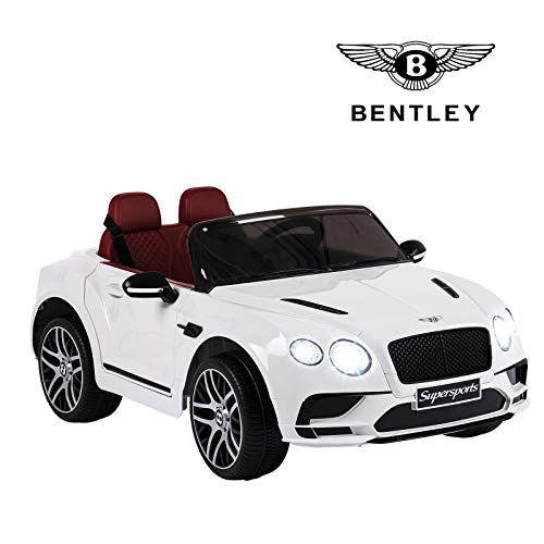 Uenjoy 12V Bentley Car Ride On Car Powered Ride on w/Remote Control,Suspension Wheels,2 Speeds,Music,USB Music Player, White (Good Remote Control Car For 5 Year Old)
