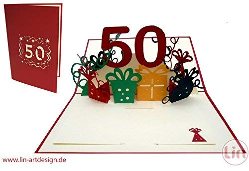 LIN Pop Up 3D Birthday Card for a 50th Birthday, handmade, red, (#20)