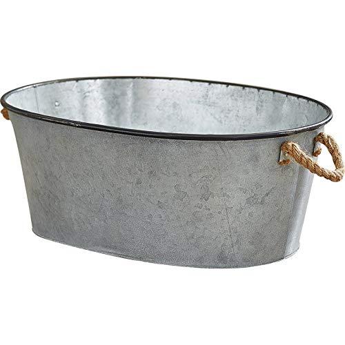 Galvanized Metal Storage Bucket - Oval Storage Bucket with Rope Handle - Silver