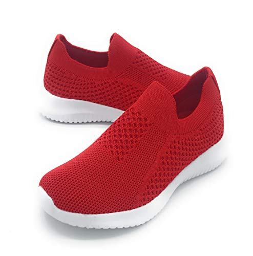 Blue Berry EASY21 Kids Breathable Fashion Slip-On Flyknit Athletic Sports Shoes (13 US Little Kids, 809RED) ()