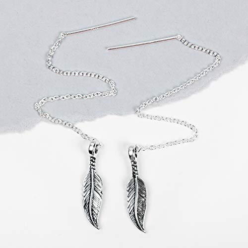 Feather Threader Chain Earrings in Sterling Silver