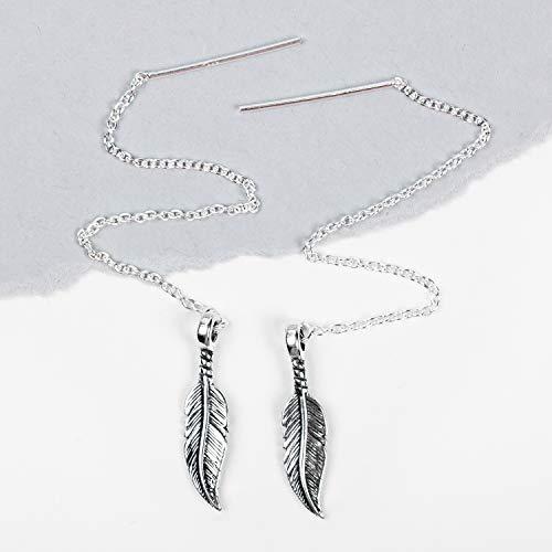 Feather Threader Chain Earrings in Sterling Silver Ear Threads Threader Earrings