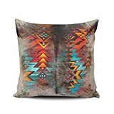DOUMIFA Home Throw Pillow Case Distressed Cowhide and Western Print Design European Decorative Pillowcase Cushion Cover Both Sides Same Colored Printing 26X26 Inch (1-Pack)