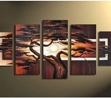 UZI-moderna de pintura al óleo de paisaje pintado a mano con pintura en pared arte cuadros 5pcs/Pack árbol, sin marco, painting only: Amazon.es: Hogar