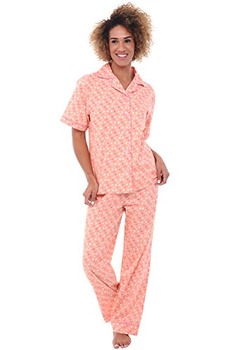 Alexander Del Rossa Womens Cotton Pajamas, Woven Pj Set with Pants, Medium Pink and White Polka Dot (A0518V22MD)