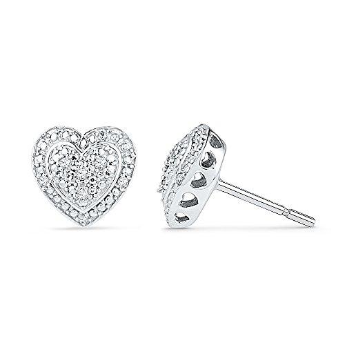 Sterling Silver White Round Diamond Heart Earring (1/20 - Diamond Post Heart