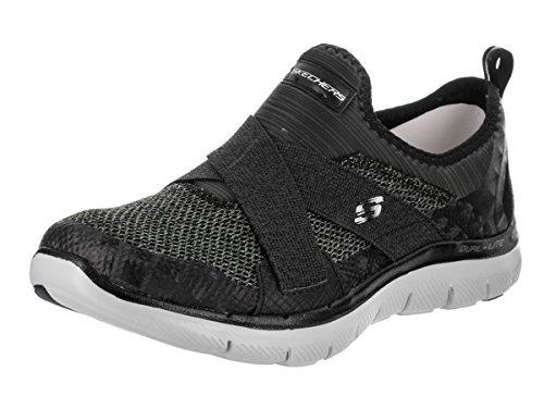 Skechers Sport Dames Flex Appeal 2.0 Nieuwe Afbeelding Fashion Sneaker Zwart / Grijs