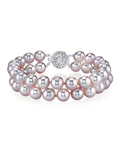 THE PEARL SOURCE 14K Gold 6-7mm AAA Quality Round Pink Freshwater Cultured Pearl Double Strand Bracelet for Women
