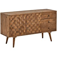 Rivet Mid-Century Checkerboard Reclaimed Elm Cabinet, 55.1 W, Natural