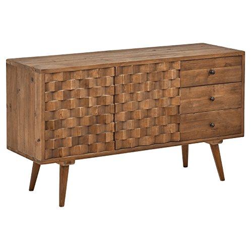 "419qFoLJE7L - Rivet Mid-Century Checkerboard Reclaimed Elm Cabinet, 55.1"" W, Natural"